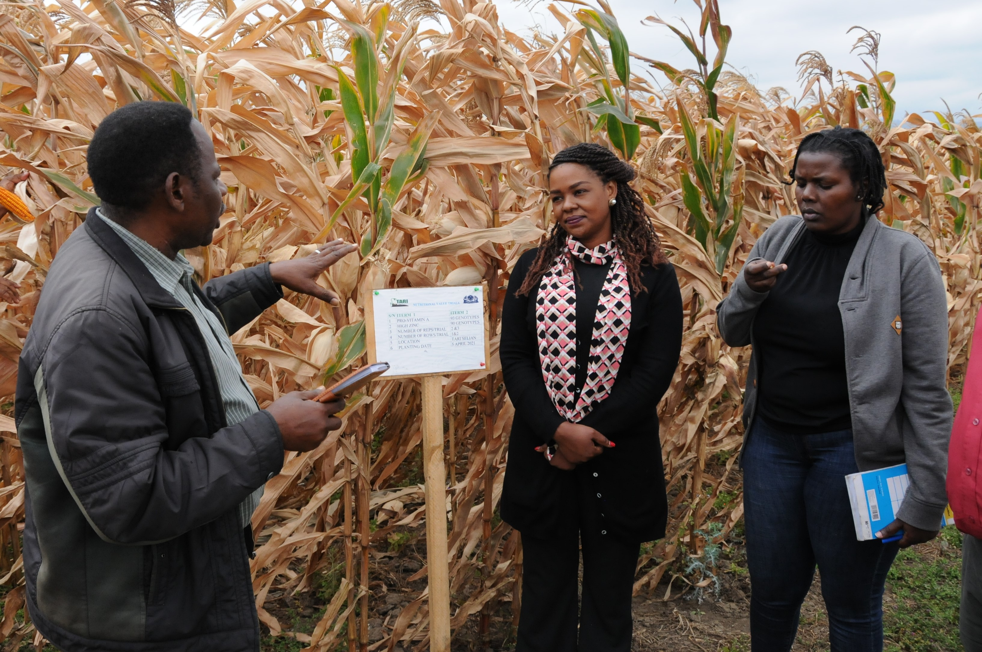 Mr. Zablon Msengi-head of the Maize Program-TARI Selian gives detailed information on Pro-Vitamin and ZInc rich maize evaluation to Ms. Ritha Tarimo-Country Director (left) and  Ms. Neema Mollel( right) from Belgium funded organization-TRIAS